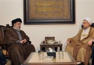 Photo of Sayyed Nasrallah receives Ayatollah Araki