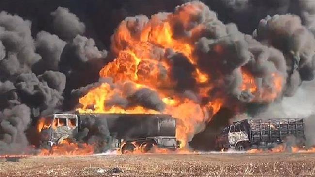 Photo of Aerial airstrikes hit Daesh convoy, killing 80 terrorists fleeing Raqqah