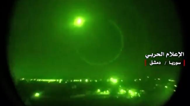 Photo of Syrian air defenses intercept missiles near Homs